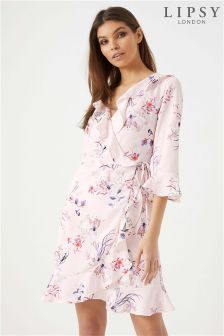 Lipsy Stella Print Wrap Front Tea Dress
