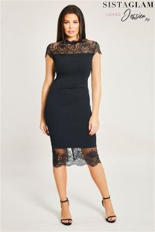 Sistaglam Loves Jessica Lace Trim Frill Hem Bodycon Dress