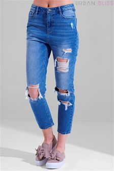 Urban Bliss Drop Fray Girlfriend Jeans