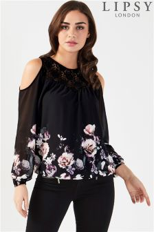 Lipsy Amber Print Cold Shoulder Top