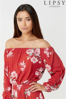 Lipsy Long Sleeve Bardot Top