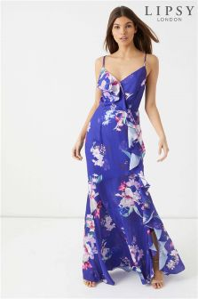 Lipsy Petite Lucia Print Cross Back Maxi Dress