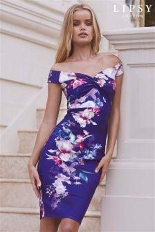 Lipsy Petite Lucia Print Bardot Bodycon Dress