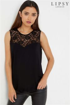 Lipsy Lace shoulder Sweetheart Neck top