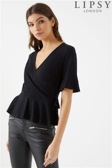 Lipsy Frill Sleeve Wrap Top