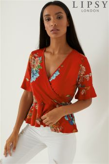 Lipsy Print Frill Sleeve Wrap Jersey Top