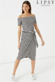 Lipsy Stripe Wrap Tie Midi Skirt
