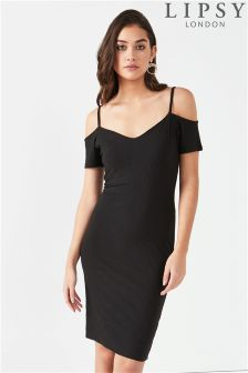 Lipsy Cold Shoulder Rib Midi Dress