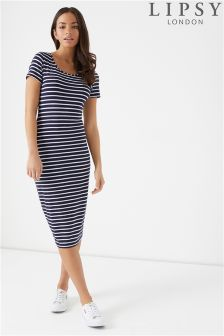 Lipsy Stripe Midi T-Shirt Dress