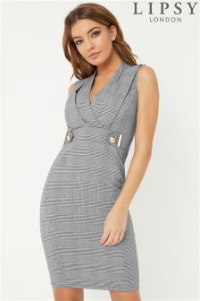 Lipsy Check Tuxedo Bodycon Dress