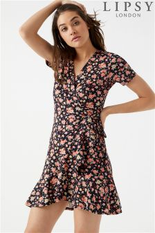 Lipsy Ditsy Printed Ruffle Wrap Dress