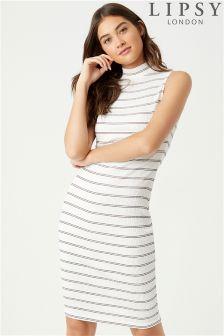 Lipsy Stripe Turtle Neck Midi Dress