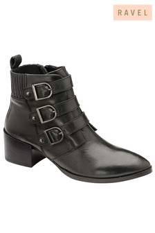 Ravel Leather Ankle Buckle Boots