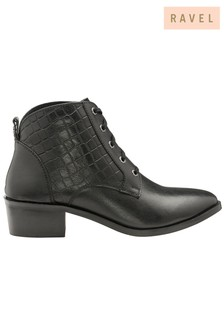 Ravel Lace Leather Ankle Boots