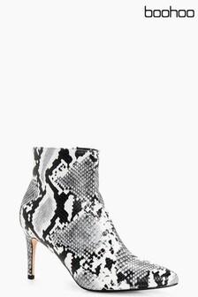 Boohoo Hannah Pointed Toe Snake Print Shoe Boot