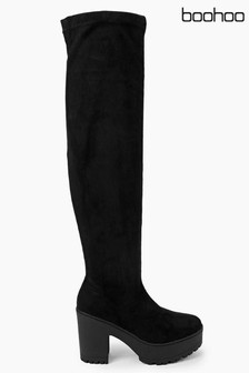 Boohoo Tia Cleated Block Heel Over The Knee Boot
