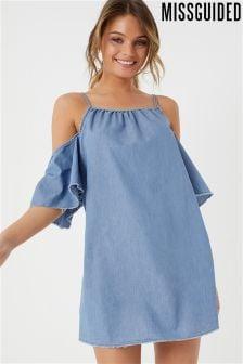 Missguided Cold Shoulder Frill Denim Mini Dress