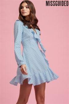 Missguided Polka Dot Wrap Tea Dress