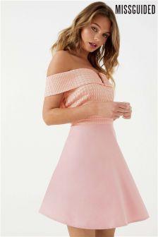 Missguided Crochet Bardot Mini Dress