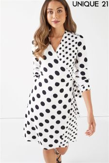 Unique 21 Polka Dot Asymmetric Long Sleeve Dress
