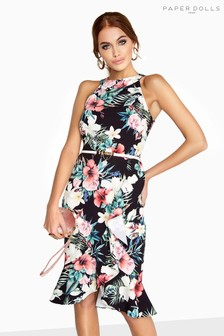 Paper Dolls Tropical Print Ruffle Bodycon Dress