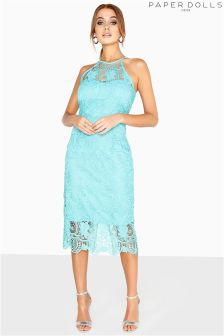 Paper Dolls Crochet Lace Midi Bodycon Dress
