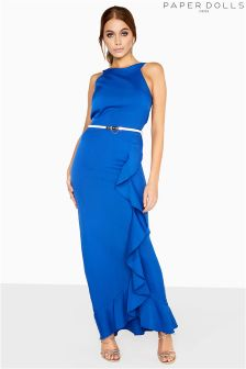 Paper Dolls Ruffle Front Belted Maxi Dress