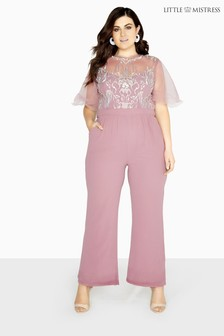 Little Mistress Curve Mesh Embroidered Jumpsuit