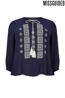 Missguided Curve Embroidered Tassel Top
