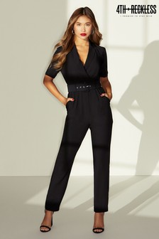 4th & Reckless Wrap Over Belted Jumpsuit