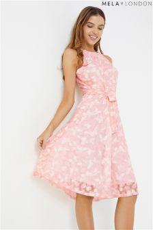 Mela London High Neck Lace Printed Skater Dress