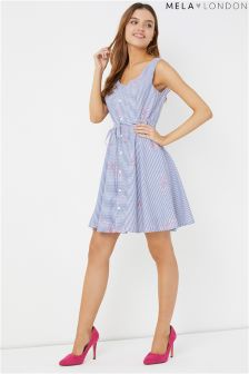 Mela London Button Down Floral Stripe Dress