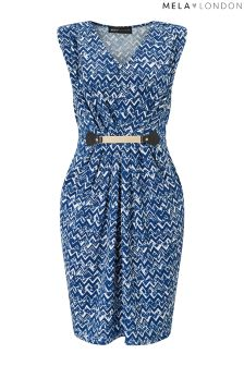 Mela London Zig Zag Print Belted Bodycon Dress