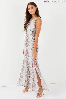 Mela London Tropical Print High Neck Maxi Dress