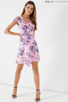 Mela London Floral Print Cold Shoulder Skater Dress