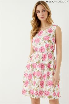 Mela London Textured Floral Print Skater Dress