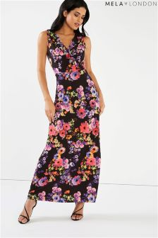 Mela London Floral Ruffle Front Maxi Dress