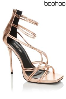 Boohoo Strappy Metallic Cage Sandals
