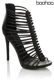 84023b1ff1c Boohoo Cage Gladiator Peeptoe Sandals