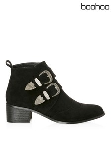Boohoo Western Buckle Ankle Boots