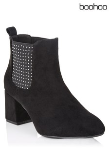 Boohoo Pin Stud Chelsea Ankle Boots