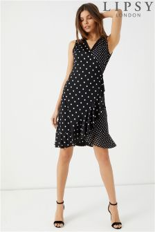 Lipsy Polka Dot Wrap Sleeveless Dress