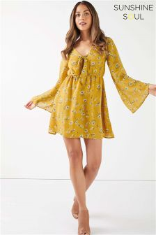 Sunshine Soul Floral Tie Front Skater Dress