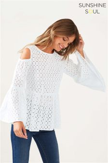 Sunshine Soul Cold Shoulder Peplum Volume Blouse