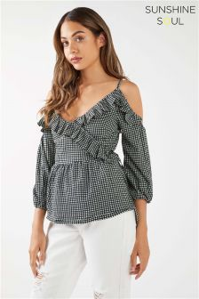 Sunshine Soul Cold Shoulder Frill Blouse