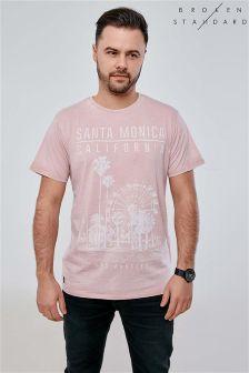 T-shirt Broken Standard en tissu dévoré imprimé sur la poitrine