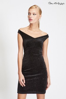 Miss Selfridge Glitter Bardot Bodycon Dress