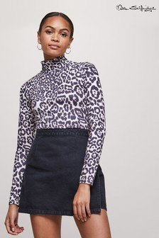 Miss Selfridge Leopard Print Long Sleeve Funnel Neck Top
