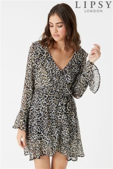 Lipsy Leopard Print Ruffle Dress