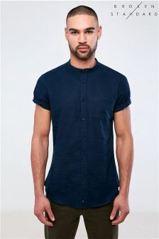 Broken Standard Short Sleeve Linen Blend Shirt